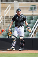Kannapolis Intimidators catcher Nate Nolan (24) on defense against the Greensboro Grasshoppers at Intimidators Stadium on July 17, 2016 in Greensboro, North Carolina.  The Intimidators defeated the Grasshoppers 3-2 in game one of a double-header.  (Brian Westerholt/Four Seam Images)