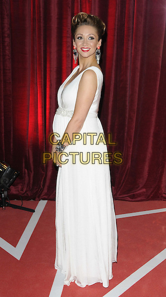 Lucy-Jo Hudson, wearing Tiffany Rose .attended the British Soap Awards 2013, Media City, Salford, Manchester, England, UK, 18th May 2013..arrivals full length pregnant maternity white long maxi dress sleeveless clutch bag diamante beaded silver bracelets earrings  dangly side .CAP/CAN.©Can Nguyen/Capital Pictures.
