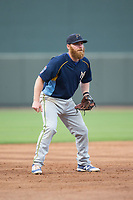 Myrtle Beach Pelicans third baseman Jesse Hodges (24) on defense against the Winston-Salem Dash at BB&T Ballpark on May 11, 2017 in Winston-Salem, North Carolina.  The Pelicans defeated the Dash 9-7.  (Brian Westerholt/Four Seam Images)