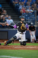 "Akron RubberDucks catcher Logan Ice (9) during an Eastern League game against the Erie SeaWolves on August 30, 2019 at Canal Park in Akron, Ohio.  Akron wore special jerseys with the slogan ""Fight Like a Kid"" during the game for Akron Children's Hospital Home Run for Life event, the design was created by 11 year old Macy Carmichael.  Erie defeated Akron 3-2.  (Mike Janes/Four Seam Images)"