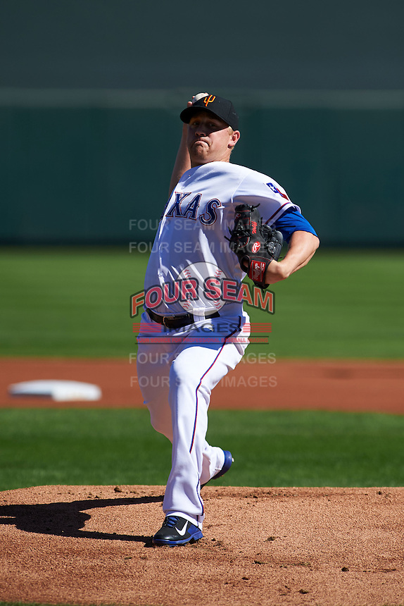 Surprise Saguaros pitcher Sam Wolff (33) delivers a pitch during an Arizona Fall League game against the Glendale Desert Dogs on October 23, 2015 at Salt River Fields at Talking Stick in Scottsdale, Arizona.  Glendale defeated Surprise 9-6.  (Mike Janes/Four Seam Images)
