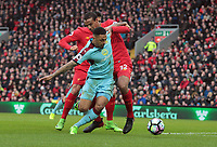 Burnley's Andre Gray shields the ball from Liverpool's Joel Matip in the Liverpool penalty area<br /> <br /> Photographer Rich Linley/CameraSport<br /> <br /> The Premier League - Liverpool v Burnley - Sunday 12 March 2017 - Anfield - Liverpool<br /> <br /> World Copyright &copy; 2017 CameraSport. All rights reserved. 43 Linden Ave. Countesthorpe. Leicester. England. LE8 5PG - Tel: +44 (0) 116 277 4147 - admin@camerasport.com - www.camerasport.com