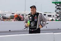 Apr. 28, 2013; Baytown, TX, USA: NHRA top fuel dragster driver Bob Vandergriff Jr runs up the track as he celebrates after winning the Spring Nationals at Royal Purple Raceway. Mandatory Credit: Mark J. Rebilas-