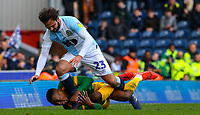 Preston North End's Darnell Fisher tangles with Blackburn Rovers' Bradley Dack<br /> <br /> Photographer Alex Dodd/CameraSport<br /> <br /> The EFL Sky Bet Championship - Blackburn Rovers v Preston North End - Saturday 9th March 2019 - Ewood Park - Blackburn<br /> <br /> World Copyright © 2019 CameraSport. All rights reserved. 43 Linden Ave. Countesthorpe. Leicester. England. LE8 5PG - Tel: +44 (0) 116 277 4147 - admin@camerasport.com - www.camerasport.com