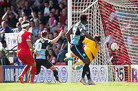 Matthew Bloomfield of Wycombe Wanderers scores his goal to make it 1-0 nduring the Sky Bet League 2 match between Leyton Orient and Wycombe Wanderers at the Matchroom Stadium, London, England on 19 September 2015. Photo by Andy Rowland.