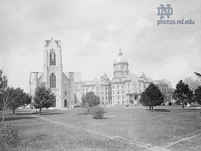 GMLS 6/01:  Main Building and the Basilica of the Sacred Heart without a steeple, 1888.  Image from the University of Notre Dame Archives.