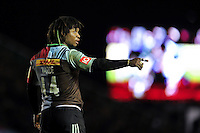 Marland Yarde of Harlequins. Aviva Premiership match, between Harlequins and Leicester Tigers on February 19, 2016 at the Twickenham Stoop in London, England. Photo by: Patrick Khachfe / JMP