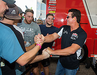 Oct 15, 2016; Ennis, TX, USA; Papa Johns Pizza owner John Schnatter during the NHRA Fall Nationals at Texas Motorplex. Mandatory Credit: Mark J. Rebilas-USA TODAY Sports
