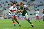 17-1-2017: Fiachra Clifford bursts through the Derry defence in the All-Ireland Football final at Croke Park on Sunday.<br /> Photo: Don MacMonagle