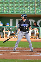 Tyler Baker (7) of the Missoula Osprey at bat against the Ogden Raptors in Pioneer League action at Lindquist Field on August 5, 2014 in Ogden, Utah.  (Stephen Smith/Four Seam Images)