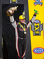 Jul 9, 2017; Joliet, IL, USA; NHRA top fuel driver Steve Torrence celebrates after winning the Route 66 Nationals at Route 66 Raceway. Mandatory Credit: Mark J. Rebilas-USA TODAY Sports