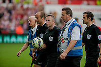 Saturday 20th September 2014  Pictured:   Referee, J Moss  leaves the field to the sound of booing from Swansea City Supporters <br /> Re: Barclays Premier League Swansea City v Southampton  at the Liberty Stadium, Swansea, Wales,UK