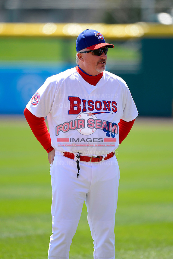 Buffalo Bisons manager Marty Brown #43 during warmups before the first game of a doubleheader against the Pawtucket Red Sox on April 25, 2013 at Coca-Cola Field in Buffalo, New York.  Pawtucket defeated Buffalo 8-3.  (Mike Janes/Four Seam Images)