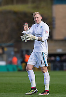 Goalkeeper Ryan Allsop (Loanee from Bournemouth) of Wycombe Wanderers at full time during the Sky Bet League 2 match between Wycombe Wanderers and Barnet at Adams Park, High Wycombe, England on 16 April 2016. Photo by Andy Rowland.