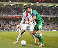 29th March 2015; UEFA EURO 2016 Championship Qualifier Group D, Ireland vs Poland, Aviva Stadium, Dublin<br /> Republic of Ireland's Robbie Keane with Lukasz Szukala of Poland.<br /> Picture credit: Tommy Grealy/actionshots.ie.