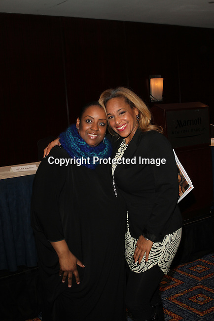 Melba's Restaurants owner Melba Wilson and Harlem Grand B&B's President Kelly A Tillers Attend The Greater Harlem Chamber of Commerce and its media partners WBLS-FM and New York Amsterdam News presents: New York City Tourism 2013, Hosted by NYC & CO, Marriott, Harlem Arts Alliance and I LOVE NY Held at the Marriott Marquis Hotel, NY