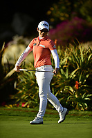 The 2018 Kia Classic Champion Eun-Hee Ji (KOR) reacts to the putt on the 18th green during the Final Round at the Kia Classic,Park Hyatt Aviara Resort, Golf Club &amp; Spa, Carlsbad, California, USA. 3/25/18.<br /> Picture: Golffile | Bruce Sherwood<br /> <br /> <br /> All photo usage must carry mandatory copyright credit (&copy; Golffile | Bruce Sherwood)
