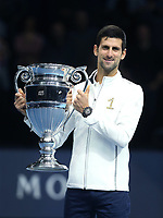 Novak Djokovic after being presented with the trophy for finishing ATP world number one for 2018<br /> <br /> Photographer Rob Newell/CameraSport<br /> <br /> International Tennis - Nitto ATP World Tour Finals Day 1 - O2 Arena - London - Sunday 11th November 2018<br /> <br /> World Copyright &copy; 2018 CameraSport. All rights reserved. 43 Linden Ave. Countesthorpe. Leicester. England. LE8 5PG - Tel: +44 (0) 116 277 4147 - admin@camerasport.com - www.camerasport.com