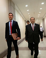 House Judiciary Committee Chairman Jerrold Nadler (Democrat of New York) leaves a press conference on Capitol Hill in Washington D.C., U.S. on June 11, 2019.  The press conference followed a House vote, where lawmakers passed a bill which allows the House Judiciary Committee to call on Federal judges to enforce Congressional subpoenas. Photo Credit: Stefani Reynolds/CNP/AdMedia