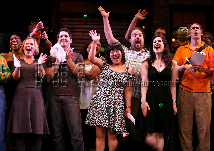 cast members: Barrett Foa, , Carey Anderson, Howie Michael Smith, Ann Harada, Stephanie D'Abruzzo & Rick Lyon .and the cast help celebrate the 5th Year of AVENUE Q on Broadway at the Golden Theare in New York City..July 31, 2008.© Walter McBride /