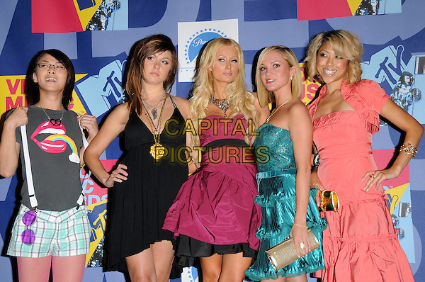 PARIS HILTON & her New Bestfriends .Pressroom at The 2008 MTV Video Music Awards held at Paramount Studios in Hollywood, California, USA.  September 7th, 2008.VMA Vma half length pink purple dress   necklace strapless black green grey gray suspenders braces .CAP/DVS.©Debbie VanStory/Capital Pictures.
