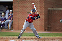 Alex Burman (32) of the NJIT Highlanders at bat against the High Point Panthers at Williard Stadium on February 18, 2017 in High Point, North Carolina. The Panthers defeated the Highlanders 11-0 in game one of a double-header. (Brian Westerholt/Four Seam Images)