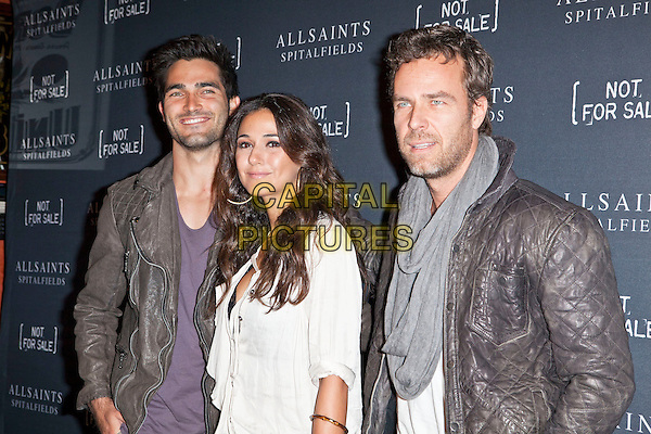 Tyler Hoechlin, Emmanuelle Chriqui, JR Bourne.AllSaints Spitalfields and Not For Sale Launch Exclusive Collection held at The Music Box, Hollyood, California, USA..24 October 2011 .half length white brown grey gray scarf jacket leather  .CAP/ADM/ES.©Emiley Schweich/AdMedia/Capital Pictures.