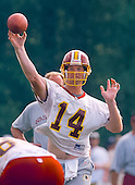 Washington Redskins quarterback Brad Johnson (14) participates in passing drills at the team's training camp at Redskins Park in Ashburn, Virginia on August 10, 2000.<br /> Credit: Arnie Sachs / CNP