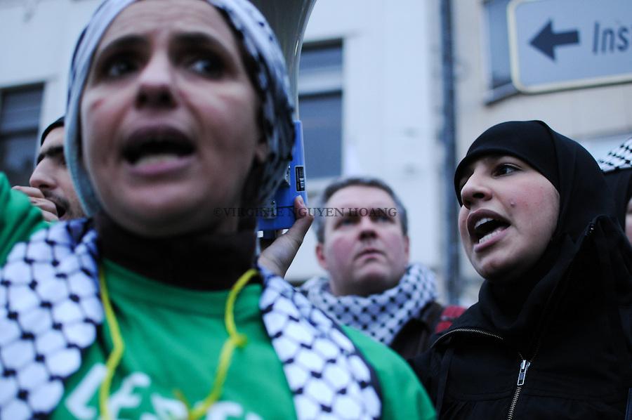 Rassemblement de protestations contre la présence de Avigdor Lieberman à Bruxelles..Gatering against the arrival of  Avigdor Lieberman in Brussels...