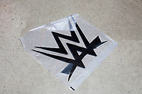 A WWE merchandise bag lays on the floor in the arena concourse a WWE Live Summerslam Heatwave Tour event at the MassMutual Center in Springfield, Massachusetts, USA, on Mon., Aug. 14, 2017.