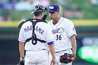 Winston-Salem Dash starting pitcher Frank Montas (36) listens to his catcher Michael Marjama (8) during the game against the Carolina Mudcats at BB&T Ballpark on June 6, 2014 in Winston-Salem, North Carolina.  The Mudcats defeated the Dash 3-1.  (Brian Westerholt/Four Seam Images)