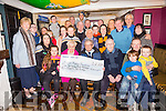 Ina Healy presented a cheque to Ted Moynihan, Kerry Hospice foundation the proceeds of the  Charlie Healy Memorial Swim e at the Greyhound Bar on Saturday