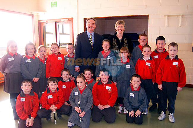 Minister for Education  Michael Woods and Prinicpal Dympna McKenna with Childern of St John,s School...Pic Tony Campbell/Newsfile