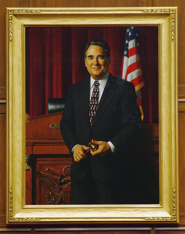 "3/26/02.TAUZIN PORTRAIT--Portrait of House Committee on Energy and Commerce Chairman W.J. ""Billy"" Tauzin, R-La., painted by Daniel E. Greene, N.A. It was unveiled March 20, 2002, and hangs on the wall of the committee's meeting room in the Rayburn House Office Building. .CONGRESSIONAL QUARTERLY PHOTO BY SCOTT J. FERRELL"