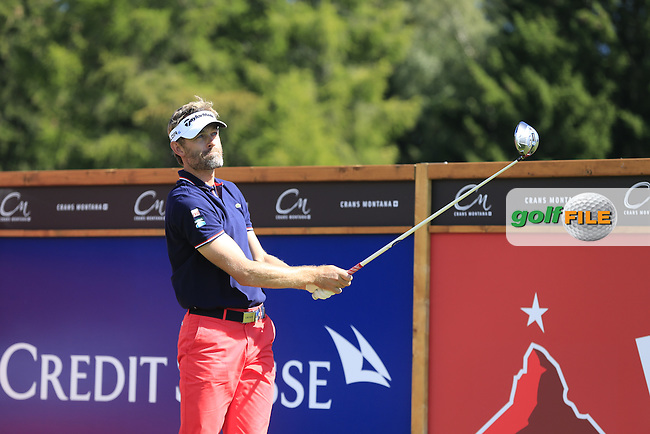 Raphael JACQUELIN (FRA) tees off the 14th tee during Saturday's Round 3 of the 2014 Omega European Masters held at the Crans Montana Golf Club, Crans-sur-Sierre, Switzerland.: Picture Eoin Clarke, www.golffile.ie: 6th September 2014