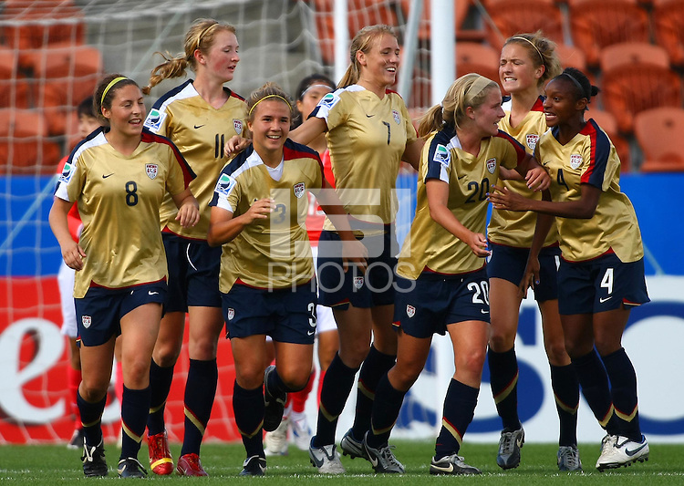 USA celebrate a goal..FIFA U17 Women's World Cup, USA v Korea Republic, Waikato Stadium, Hamilton, New Zealand, Sunday 9 November 2008. Photo: Renee McKay/PHOTOSPORT