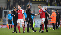 Fleetwood Town's first team coach Barry Nicholson, left, with Fleetwood Town's Nathan Sheron at the end of the game<br /> <br /> Photographer Chris Vaughan/CameraSport<br /> <br /> The EFL Sky Bet League One - Saturday 23rd February 2019 - Burton Albion v Fleetwood Town - Pirelli Stadium - Burton upon Trent<br /> <br /> World Copyright © 2019 CameraSport. All rights reserved. 43 Linden Ave. Countesthorpe. Leicester. England. LE8 5PG - Tel: +44 (0) 116 277 4147 - admin@camerasport.com - www.camerasport.com