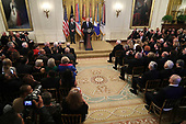 United States President Donald J. Trump hosts a reception commemorating the 35th anniversary of attack on the Beirut Barracks with Secretary of Defense James Mattis (L) in the East Room of the White House October 25, 2018 in Washington, DC. On October 23, 1983 two truck bombs struck the buildings housing Multinational Force in Lebanon (MNF) peacekeepers, killing 241 U.S. and 58 French peacekeepers and 6 civilians.<br /> Credit: Chip Somodevilla / Pool via CNP