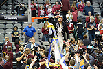 DALLAS, TX - APRIL 1: Head Coach Dawn Staley of the South Carolina Gamecocks salutes to fans after defeating the Mississippi State Lady Bulldogs during the 2017 Women's Final Four at American Airlines Center on April 2, 2017 in Dallas, Texas. (Photo by Evert Nelson/NCAA Photos via Getty Images)