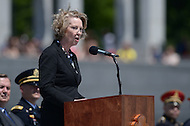 Washington, DC - June 6, 2014: Susan Eisenhower, granddaughter of General Dwight D. Eisenhower, speaks during a ceremony in remembrance of the 70th anniversary of the D-Day invasion at the National World War II Memorial  in the District of Columbia.  (Photo by Don Baxter/Media Images International)