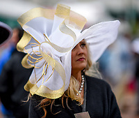 LOUISVILLE, KY - MAY 06: A woman wears a fancy hat on Kentucky Derby Day at Churchill Downs on May 6, 2017 in Louisville, Kentucky. (Photo by Scott Serio/Eclipse Sportswire/Getty Images)