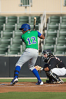 Elier Hernandez (12) of the Lexington Legends at bat against the Kannapolis Intimidators at CMC-Northeast Stadium on May 25, 2015 in Kannapolis, North Carolina.  The Intimidators defeated the Legends 6-5.  (Brian Westerholt/Four Seam Images)