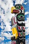 Totem Pole at Alert Bay, the oldest community in North Vancover Island, British Columbia, Canada