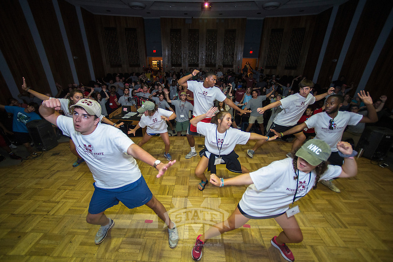 New Maroon Camp counselors show off their dance moves during a lip sync competition in the Dorman Hall auditorium. New Maroon Camp is a student-led, four-night camp designed to help first year students transition to the university.<br />  (photo by Sarah Dutton / &copy; Mississippi State University)