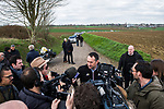 Race Director Thierry Gouvenou ASO talks to the media during the reconaissance of the pave sectors before the 2018 Paris-Roubaix. 3rd April 2018.<br /> Picture: ASO/P.Ballet | Cyclefile<br /> <br /> <br /> All photos usage must carry mandatory copyright credit (&copy; Cyclefile | ASO/Pauline Ballet)