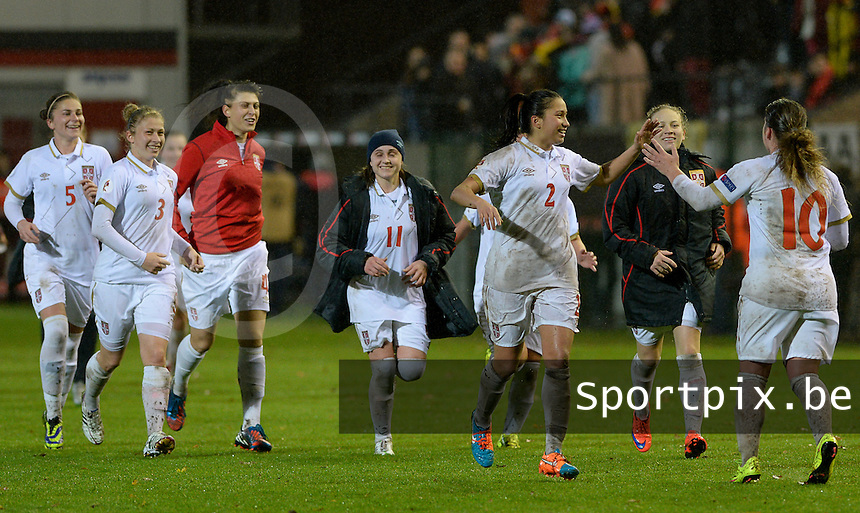 20151130 - LEUVEN ,  BELGIUM : Serbian Players pictured happy and celebrating their 1-1 draw during the female soccer game between the Belgian Red Flames and Serbia , the third game in the qualification for the European Championship in The Netherlands 2017  , Monday 30 November 2015 at Stadion Den Dreef  in Leuven , Belgium. PHOTO DAVID CATRY