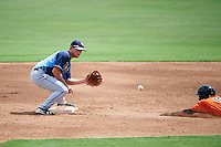 Tampa Bay Rays second baseman Brandon Lowe (5) waits for a throw to tag out Cedric Mullins (19) sliding into second during an Instructional League game against the Baltimore Orioles on September 19, 2016 at Ed Smith Stadium in Sarasota, Florida.  (Mike Janes/Four Seam Images)