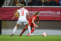 20181005 - LEUVEN , BELGIUM : Belgian Davinia Vanmechelen (R) and Switzerland's Ana Maria Crnogorcevic (9)  pictured during the female soccer game between the Belgian Red Flames and Switzerland , the first leg in the semi finals play offs for qualification for the World Championship in France 2019, Friday 5 th october 2018 at OHL Stadion Den Dreef in Leuven , Belgium. PHOTO SPORTPIX.BE | DIRK VUYLSTEKE