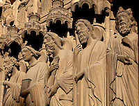 L-r; Statues of St Paul, St John, St James the Elder, St James the Younger, St Bartholomew or Nathanael, Matthew, on the right splay of the central bay of the South Portal depicting the Last Judgement, 12th century, Chartres Cathedral, Eure-et-Loir, France. Chartres cathedral was built 1194-1250 and is a fine example of Gothic architecture. It was declared a UNESCO World Heritage Site in 1979. Picture by Manuel Cohen.