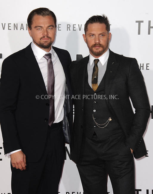 WWW.ACEPIXS.COM<br /> <br /> December 16 2015, LA<br /> <br /> Actor Leonardo DiCaprio and Tom Hardy arriving at the premiere of 'The Revenant' at the TCL Chinese Theatre on December 16, 2015 in Hollywood, California.<br /> <br /> <br /> By Line: Peter West/ACE Pictures<br /> <br /> <br /> ACE Pictures, Inc.<br /> tel: 646 769 0430<br /> Email: info@acepixs.com<br /> www.acepixs.com